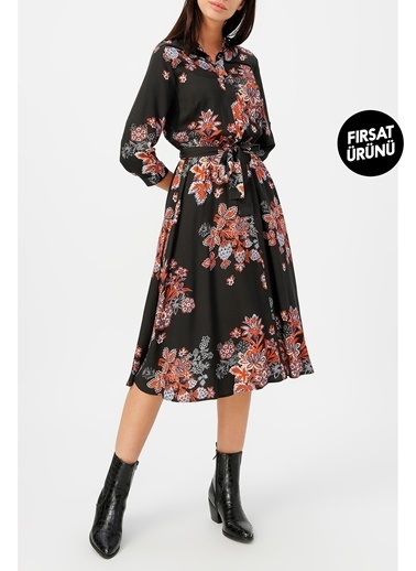 Random Kadın Truvakar Kol Desenli Gömlek Elbise Siyah